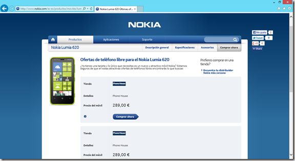 comprar lumia 620 en web de Nokia