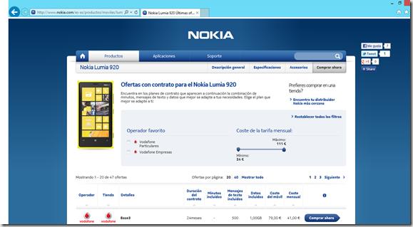 comprar lumia 920 en web de Nokia