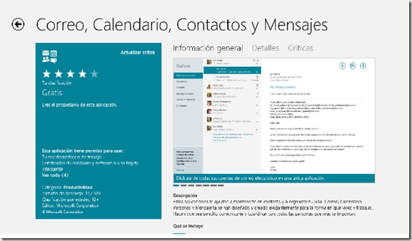 APP correo Windows 8