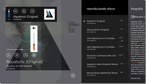 app Music w8 con volumen independiente