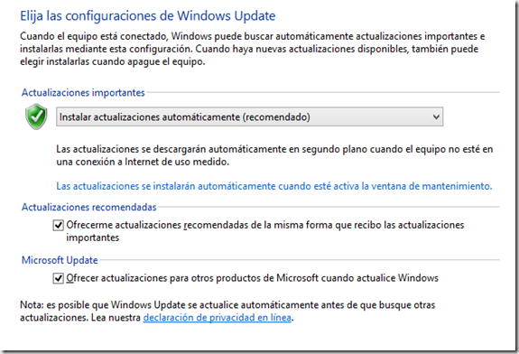 configuracion actualizaciones windows