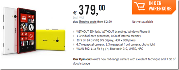 Lumia 720 reservas en Almania