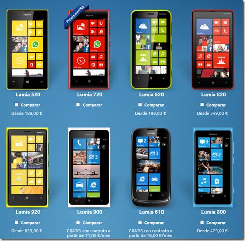 nokias Lumia en la web de Nokia