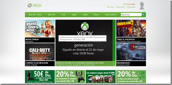 presentacion Xbox en la web